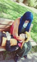Naruhina Relaxing on a bench by EpicRamenCosplayer