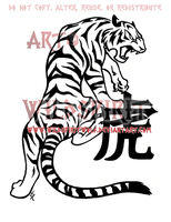 Chinese Zodiac Tiger Tattoo by WildSpiritWolf