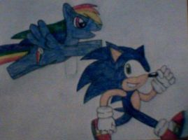 Sonic and Rainbow Dash racing by MollyKetty