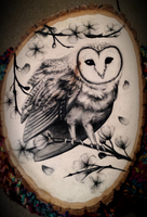 Charcoal Owl and Blossoms on Live Edge Wood by naifu