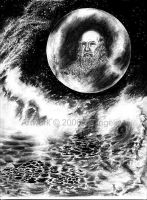 Man in the Moon, Mystical Sea by squidink