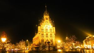Gouda City Hall, Bathing in Gold Light by CyranoInk