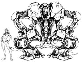 Mech Concept - Line work by DarrenGeers