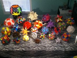 My Kusudamas I folded throughout the summer :) by DaughterofBeast23
