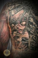 Back Skull gun demon face 2 by 2Face-Tattoo