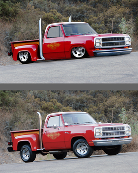 79 Dodge Little Red Truck by rubrduk before/after by rubrduk
