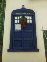 TARDIS Christmas card with wreath by Waileem