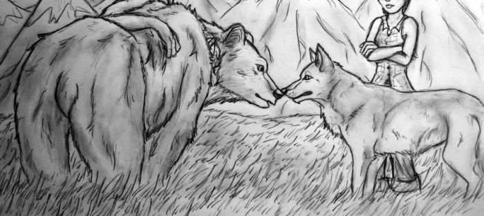 bear and wolf by sihisha