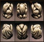 Small Round Carved Bone Cthulhu - Resin Idol by CopperCentipede