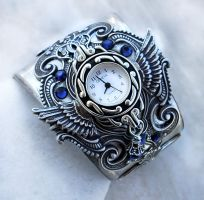 Silver Cuff Watch - Blue 2 by Aranwen