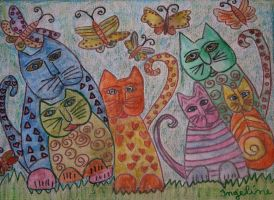New year cats with butterflies by ingeline-art