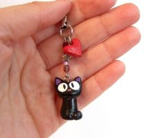 Jiji - black cat charm by yael360