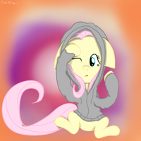 Fluttershy is Confused in a Hoodie by catz537