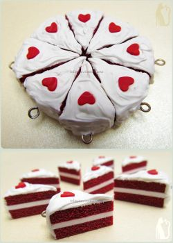 Polymer Clay Red Velvet Love Cakes by Talty