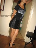 Posing in leather mini skirt by Girl-q
