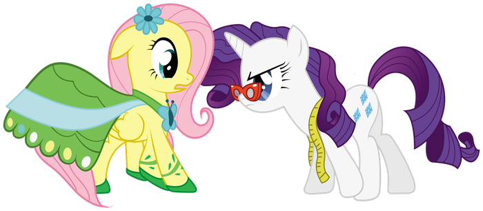 Fluttershy and Rarity by lookitslaurie