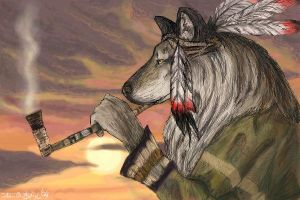 Shamanic Wolf (edited) by konekonoarashi
