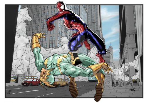 Spiderman and Electro Fighting by araeld
