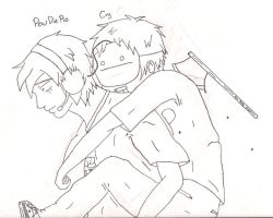 Piggyback ride (Outlined WIP) by TamashiOji