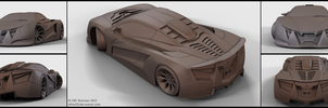 V12 Supercar concept - clay renders by ollite20