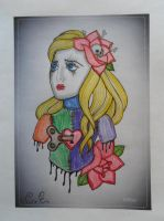 Colored Patched Doll Tattoo by CarlosAE