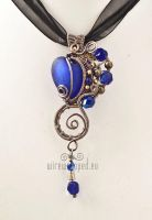 Cobalt blue heart steampunk pendant by ukapala