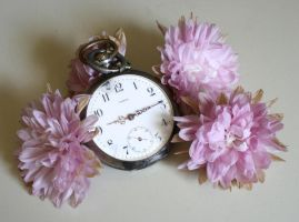 broken clock and deadhead flowers by Nexu4