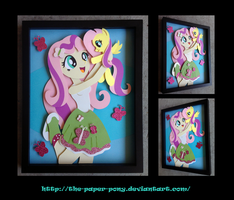 11x14 EqG Fluttershy Shadowbox by The-Paper-Pony