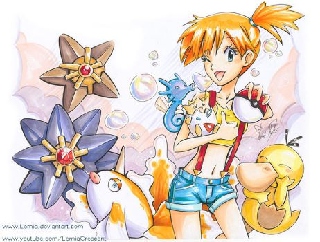 Copic Marker Misty and her Pokemon Team by LemiaCrescent