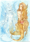 Merman: Pearls, jellyfish and Gold by Lucifer-Krusnik00