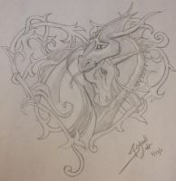 Unicorn Dragon Tattoo Design by deadnurmind