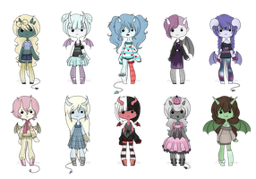 Adopt Set 18 - Demon Girls - CLOSED by rosie-wosie