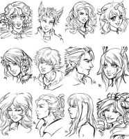 1 euro headshot sketches compilation by saniika