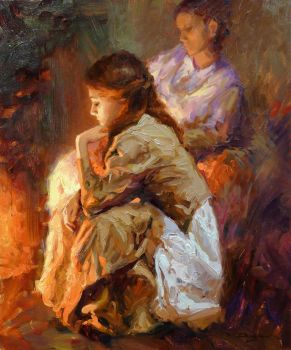 Vadim Dolgov - By the Fireplace by OilPaintersofAmerica