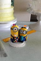 Minion wedding cake toppers by zoesfancycakes