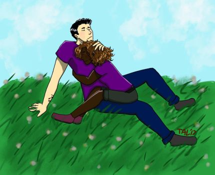 Frazel cuddles in a field by Rainintheearlymornin