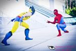 Classic YellowWolverine Vs Spiderman by joker99xdraven
