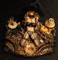 OOAK Halloween Trick Or Treat Witch Mixed Media 9 by GeorgeCalado
