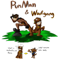 The Adventures of PunMan and Woofgang by Drakithu