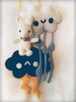 Rabbit Pig among the clouds by hellohappycrafts