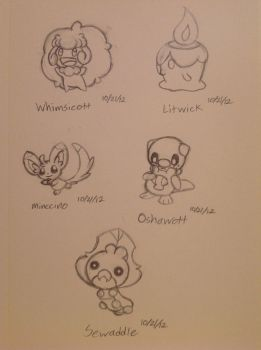 My first Gen. 5 Pokemon sketches - 10/21/12 by Jestloo