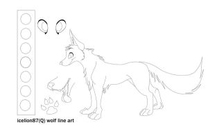 free wolf line art by icelion87