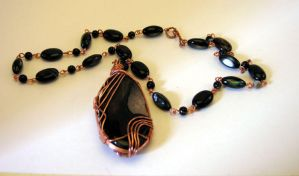 Copper and Onyx Necklace by Aegypiinae