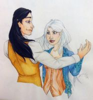 Ara and Mathis Watercolor painting by AraRouge