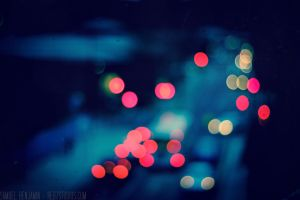 Blue car lights Bokeh 1 by Samuel-Benjamin