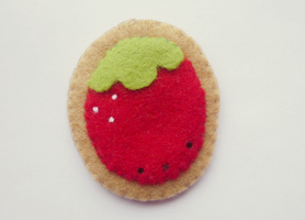 Strawberry brooch by Kyandi-charms