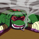 Stressed out Raph smoking. by Tigerfog