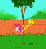 The Skinny Tree Gag with Ned Newt and Pinkie Pie by Cartoon-Eric