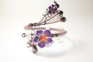 wire wrapped pink and black flower cuff plumeria by Toowired