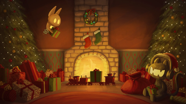 Monstercat Twitch Christmas Backdrop by petirep